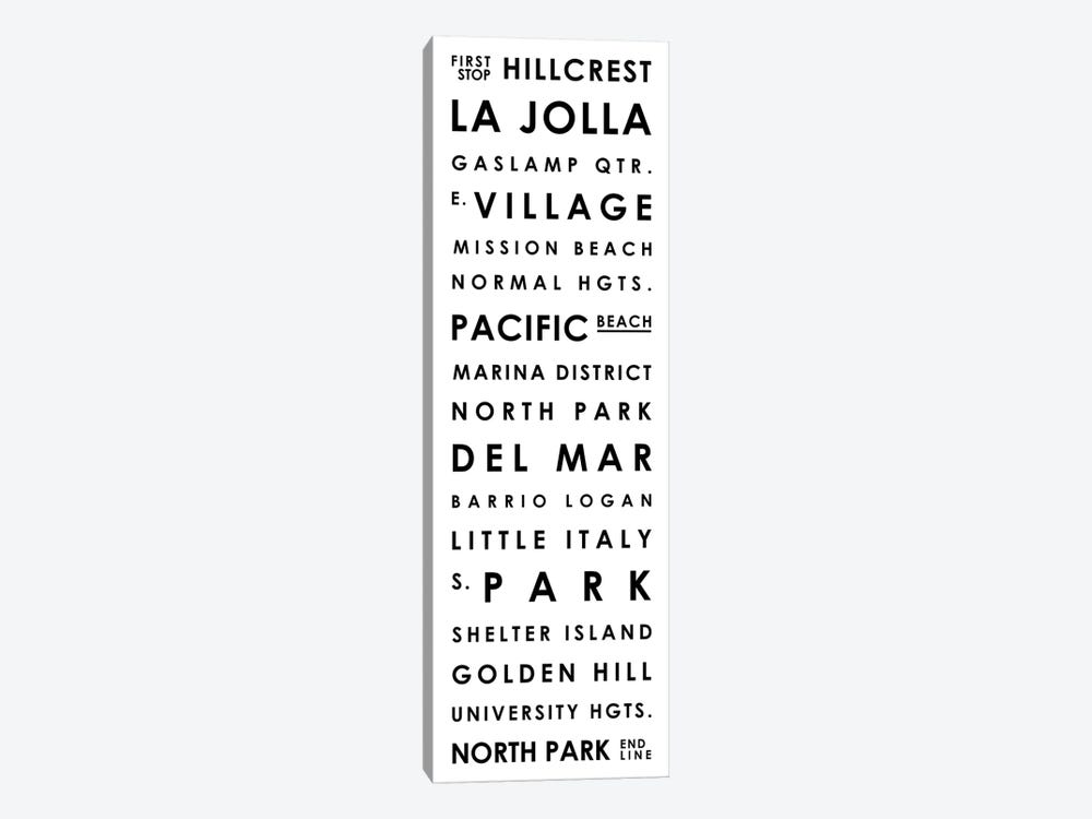San Diego Typographical Neighborhoods by Mr. City Printing 1-piece Canvas Art Print
