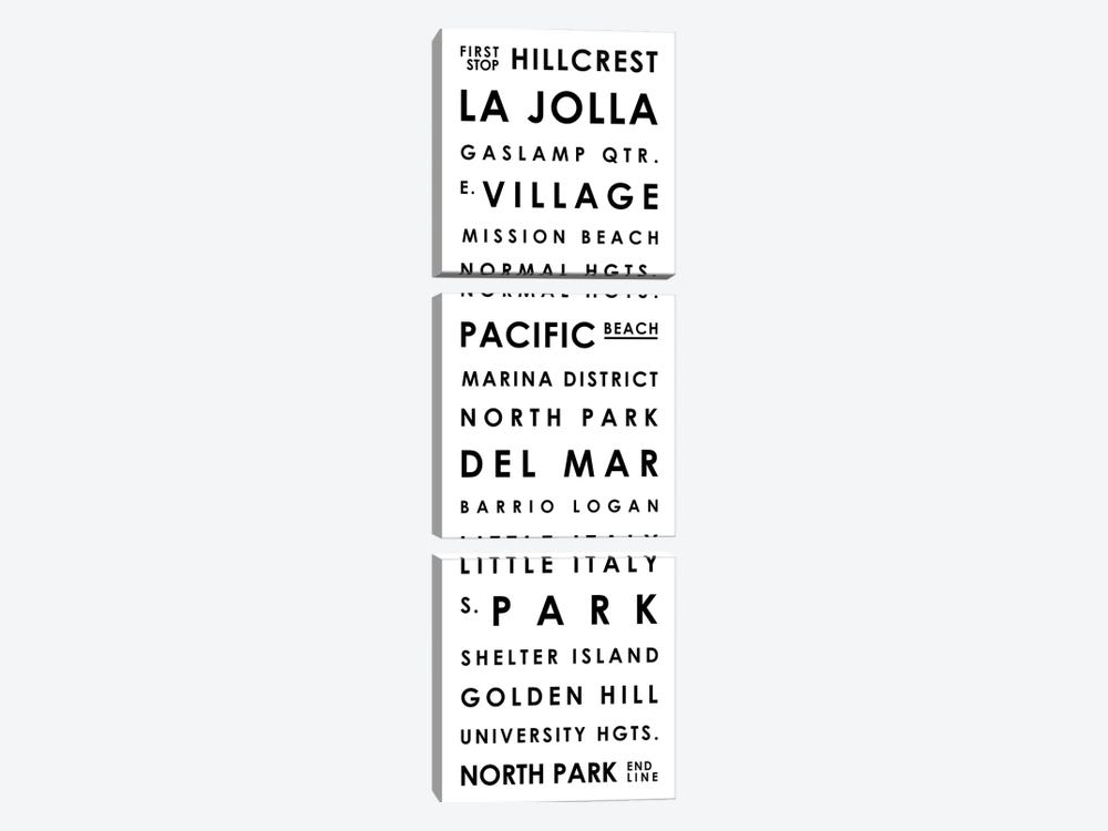 San Diego Typographical Neighborhoods by Mr. City Printing 3-piece Canvas Art Print