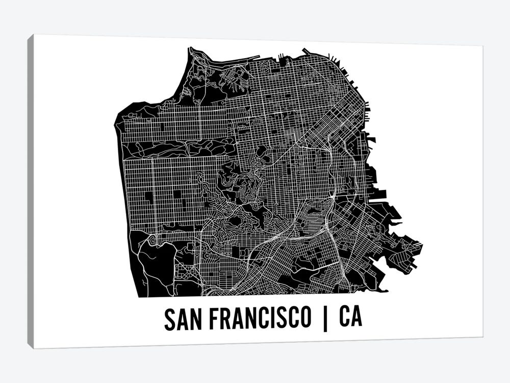 San Francisco Map by Mr. City Printing 1-piece Canvas Artwork