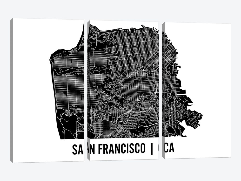 San Francisco Map by Mr. City Printing 3-piece Canvas Wall Art