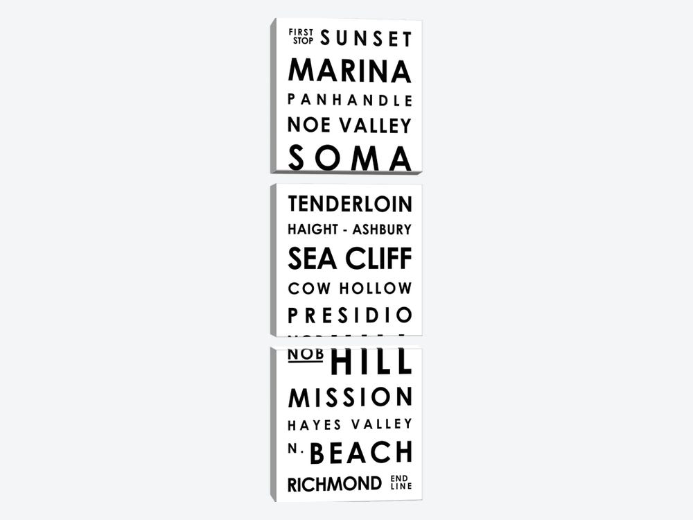 San Francisco Typographical Neighborhoods by Mr. City Printing 3-piece Art Print
