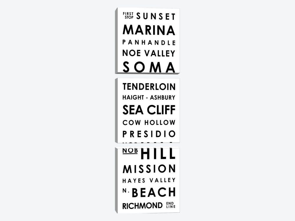 San Francisco Typographical Neighborhoods by Mr. City Printing 3-piece Art Print