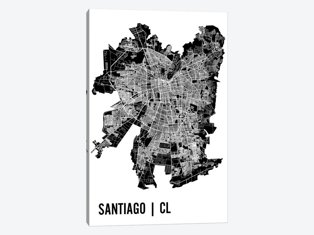Santiago Map by Mr. City Printing 1-piece Canvas Wall Art