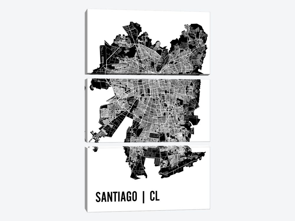 Santiago Map by Mr. City Printing 3-piece Canvas Artwork