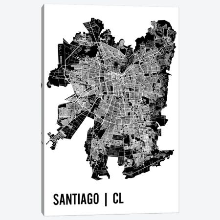 Santiago Map Canvas Print #MCP64} by Mr. City Printing Canvas Art Print