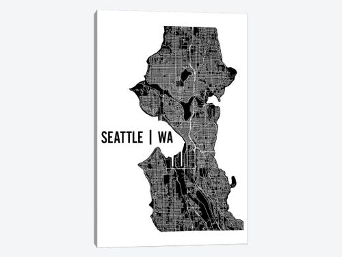 Seattle Map Canvas Wall Art By Mr City Printing Icanvas
