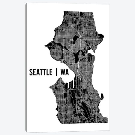 Seattle Map Canvas Print #MCP65} by Mr. City Printing Canvas Print