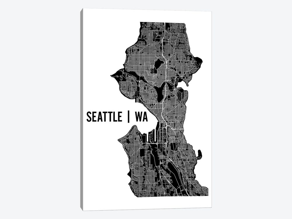 Seattle Map by Mr. City Printing 1-piece Canvas Print