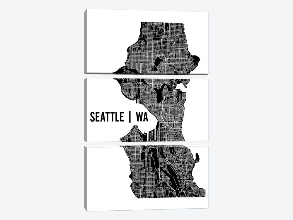 Seattle Map by Mr. City Printing 3-piece Canvas Art Print