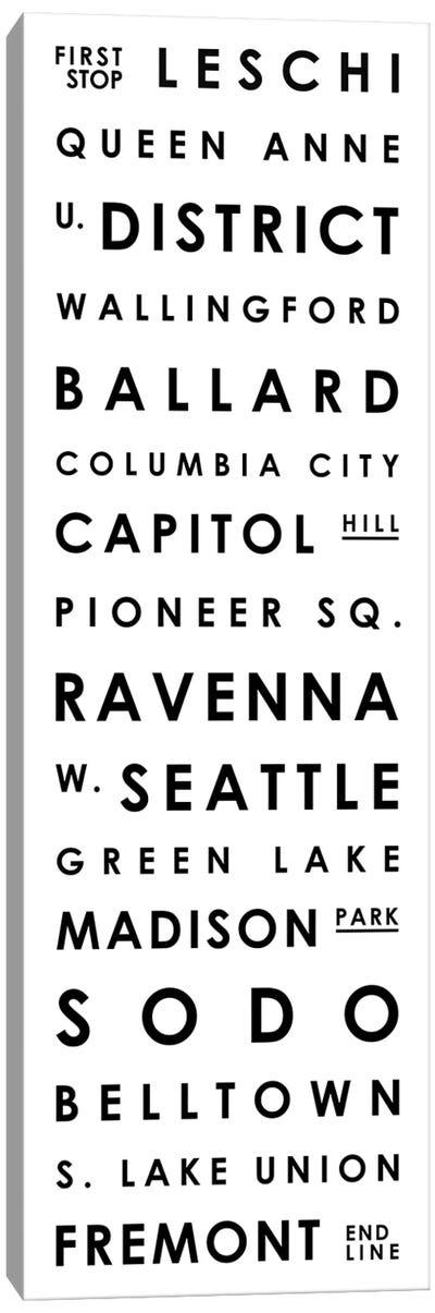 Seattle Typographical Neighborhoods Canvas Art Print