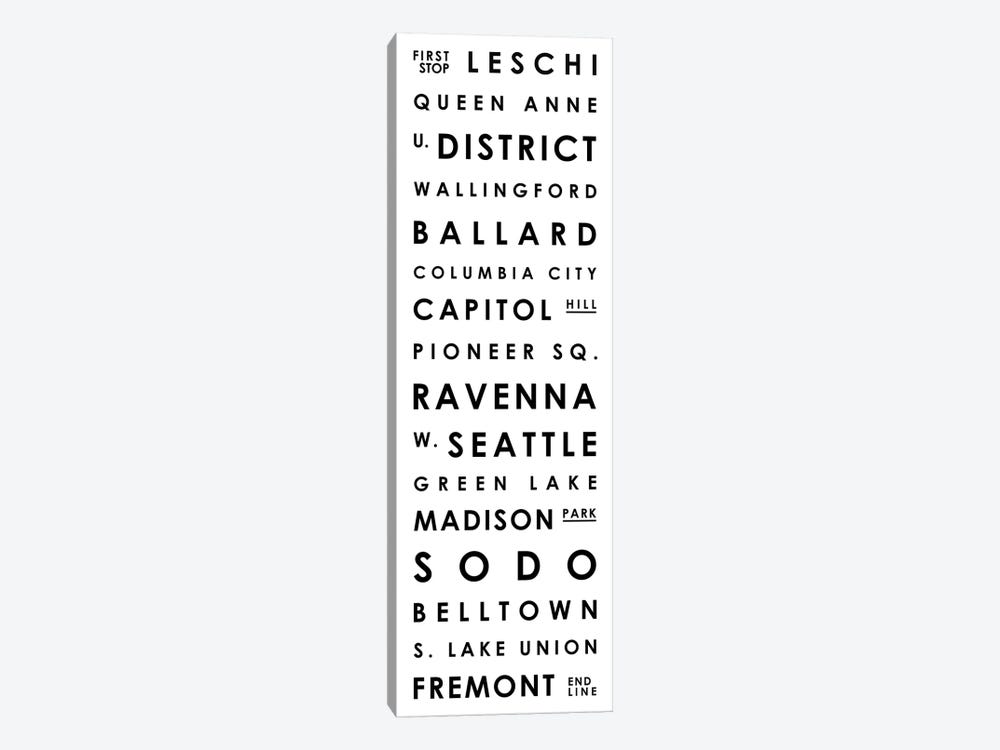 Seattle Typographical Neighborhoods by Mr. City Printing 1-piece Canvas Artwork