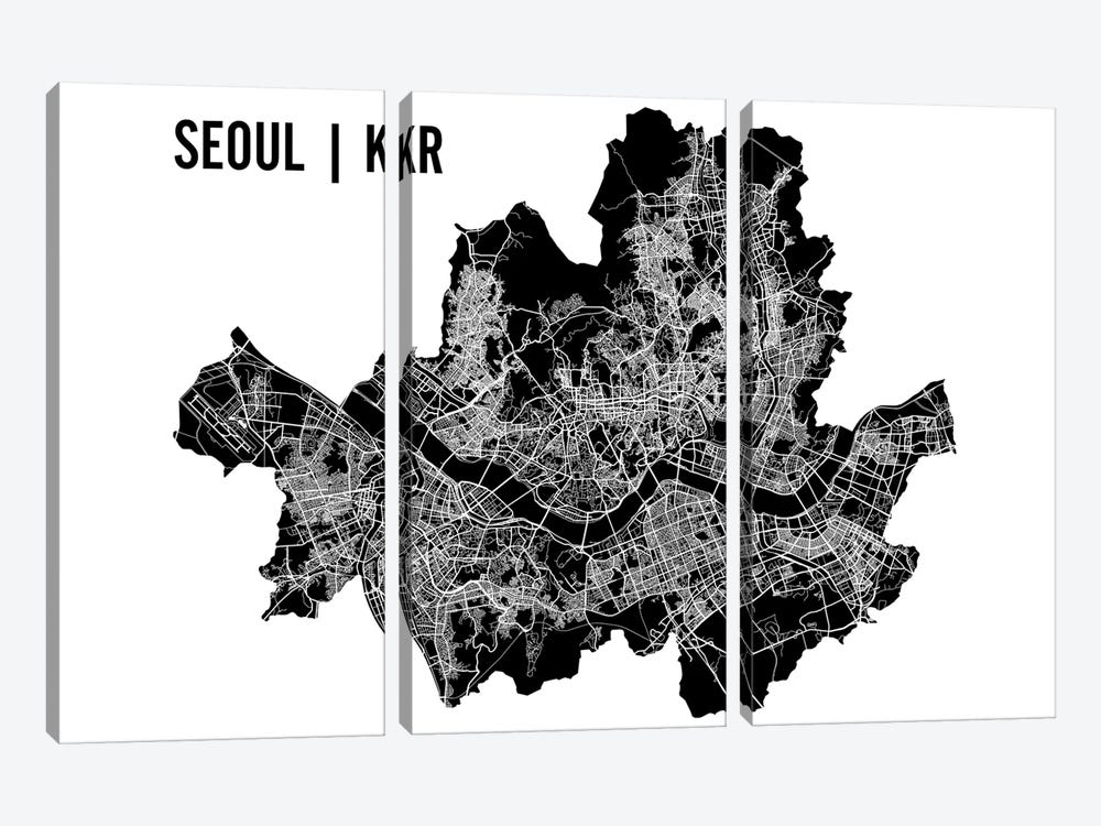 Seoul Map by Mr. City Printing 3-piece Art Print