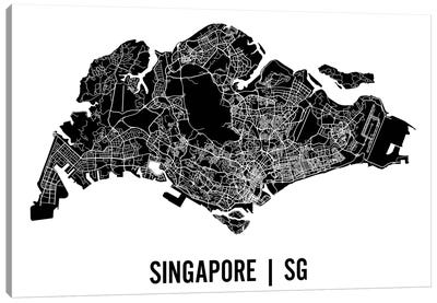 Singapore Map Canvas Art Print