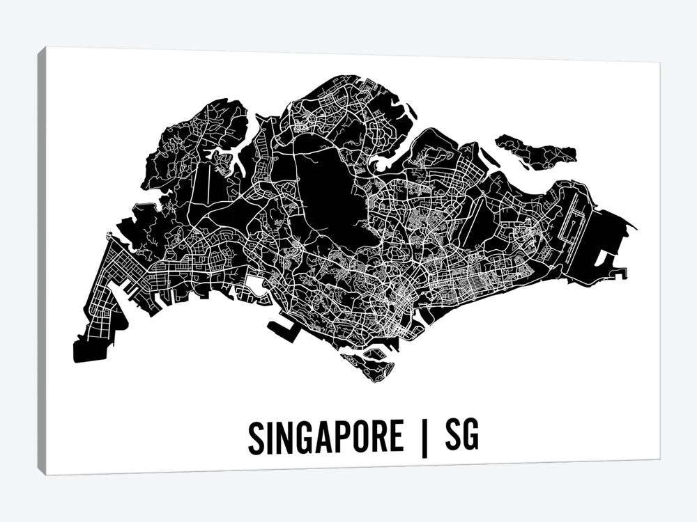 Singapore Map by Mr. City Printing 1-piece Canvas Art