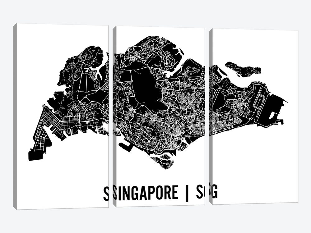 Singapore Map by Mr. City Printing 3-piece Canvas Artwork