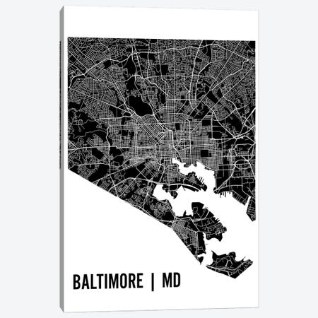 Baltimore Map Canvas Print #MCP6} by Mr. City Printing Canvas Print