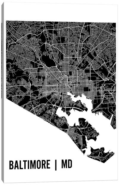 Baltimore Map Canvas Art Print
