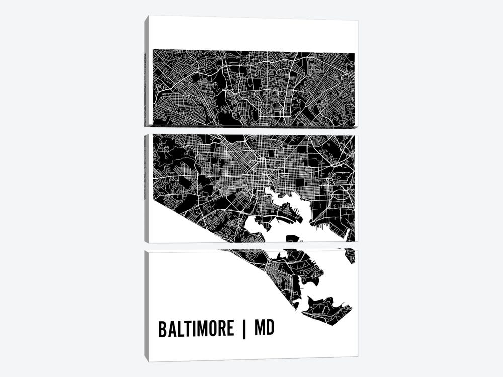 Baltimore Map by Mr. City Printing 3-piece Canvas Art