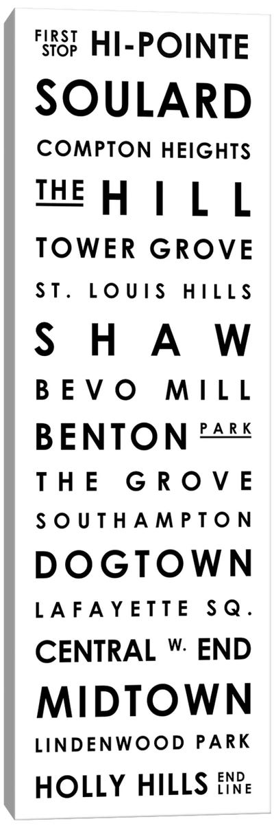 St. Louis Typographical Neighborhoods Canvas Art Print