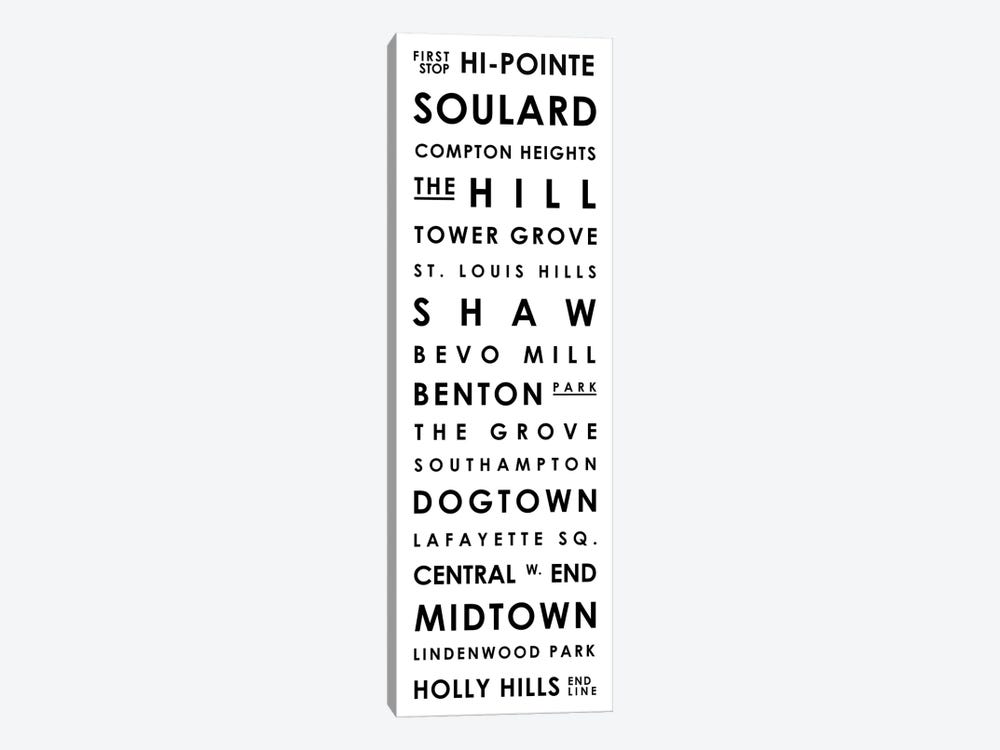 St. Louis Typographical Neighborhoods by Mr. City Printing 1-piece Canvas Art Print