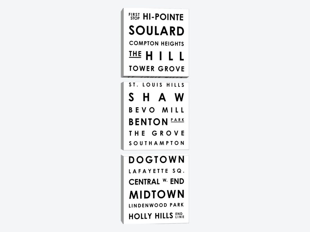 St. Louis Typographical Neighborhoods by Mr. City Printing 3-piece Canvas Art Print