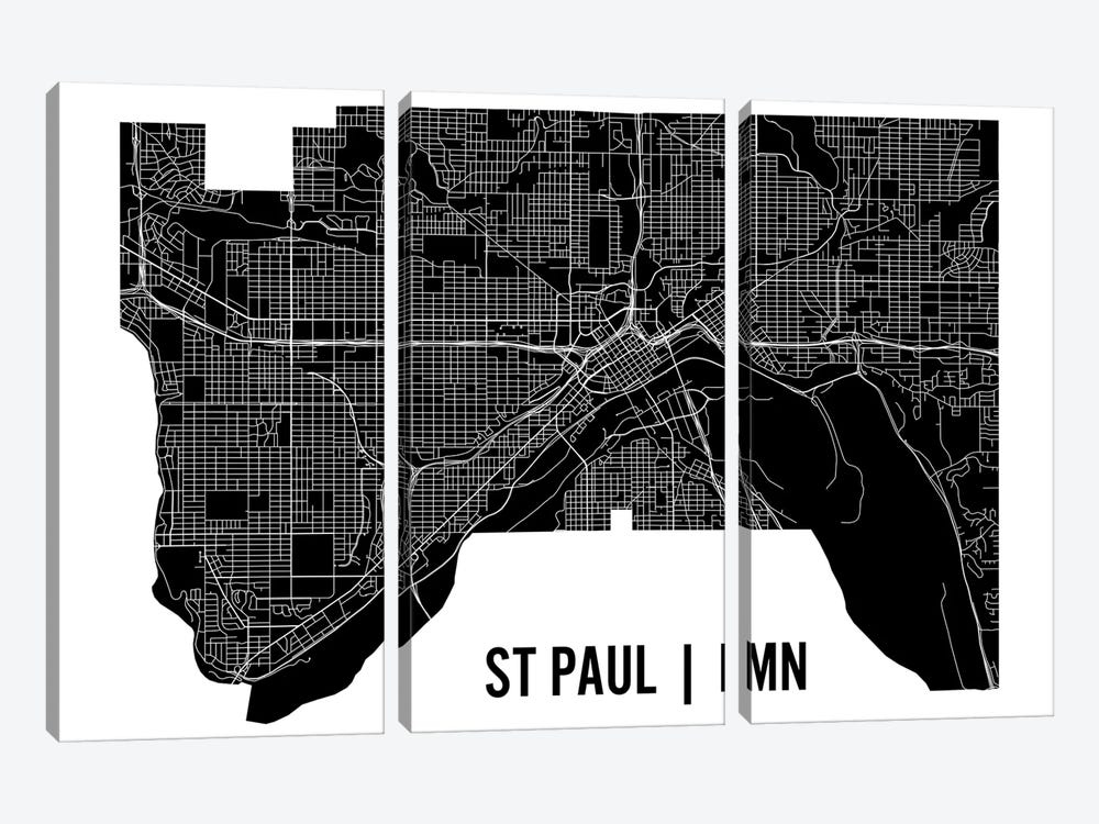 St. Paul Map by Mr. City Printing 3-piece Canvas Wall Art