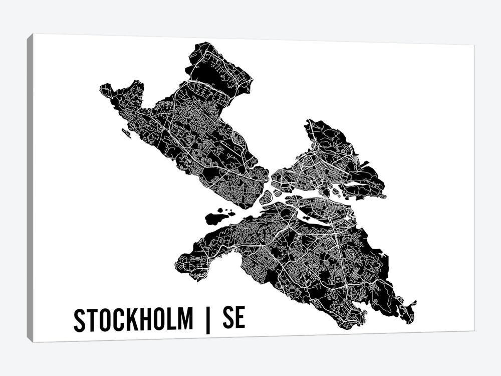Stockholm Map by Mr. City Printing 1-piece Canvas Art Print