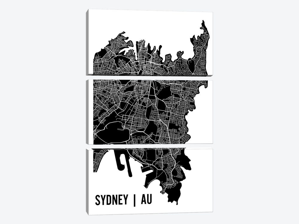 Sydney Map by Mr. City Printing 3-piece Canvas Artwork
