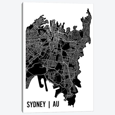 Sydney Map Canvas Print #MCP73} by Mr. City Printing Canvas Art Print