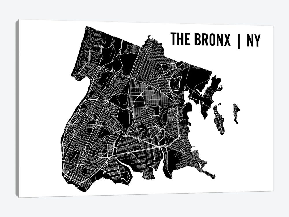 The Bronx Map by Mr. City Printing 1-piece Canvas Print