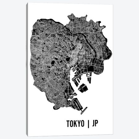 Tokyo Map Canvas Print #MCP75} by Mr. City Printing Canvas Wall Art