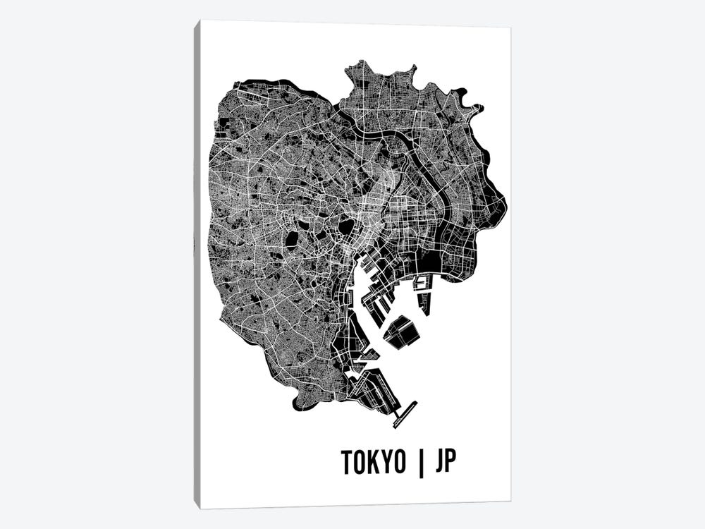 Tokyo Map by Mr. City Printing 1-piece Canvas Wall Art