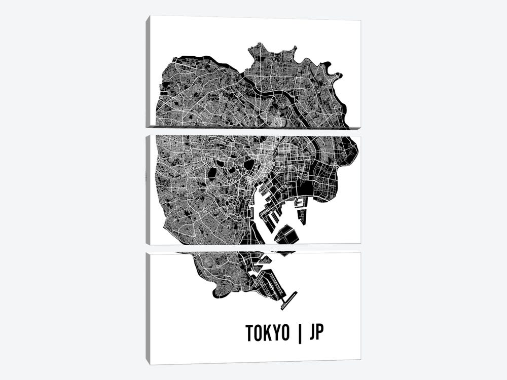 Tokyo Map by Mr. City Printing 3-piece Canvas Art