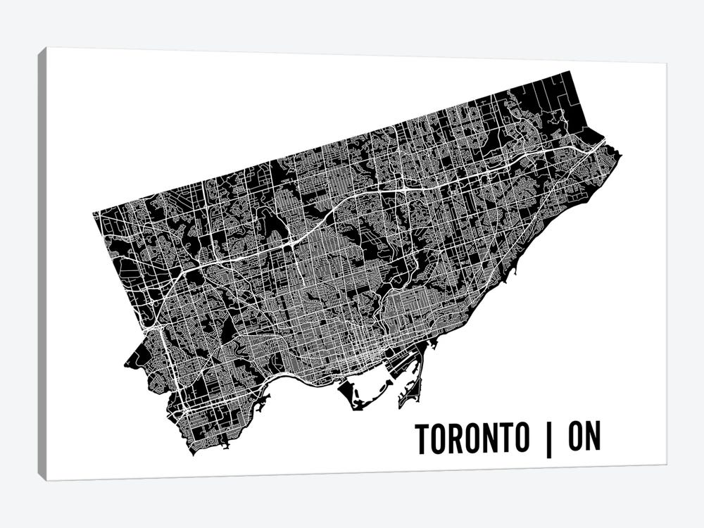 Toronto Map by Mr. City Printing 1-piece Canvas Print
