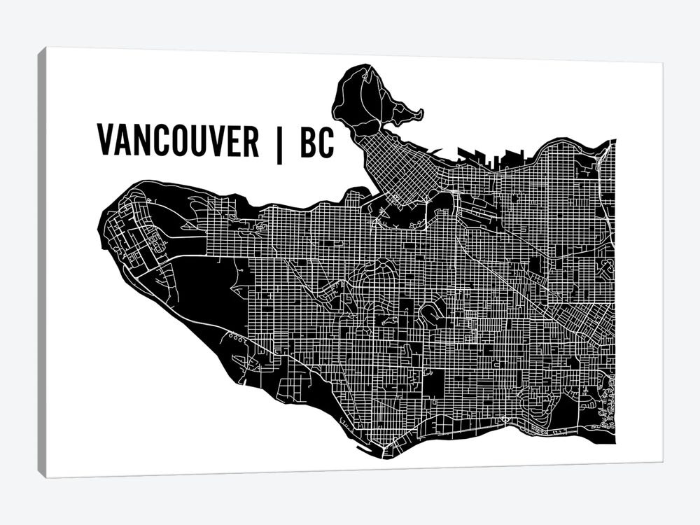 Vancouver Map by Mr. City Printing 1-piece Canvas Wall Art