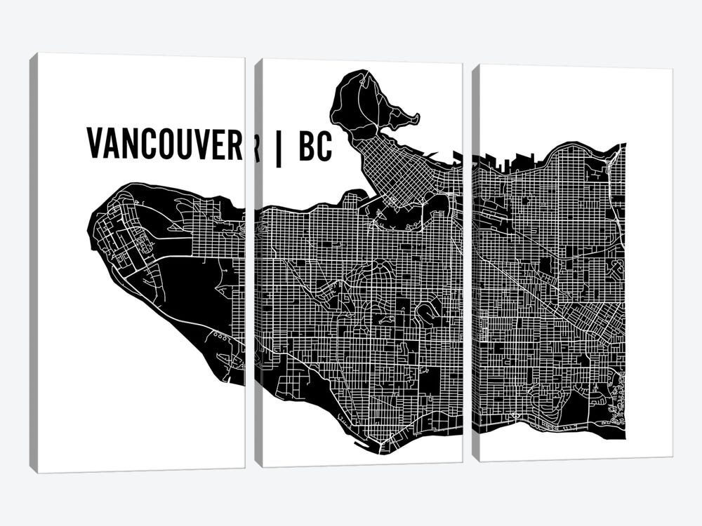 Vancouver Map 3-piece Canvas Art