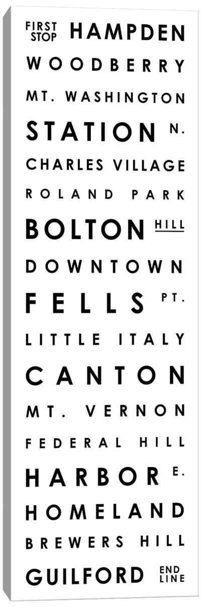 Baltimore Typographical Neighborhoods Canvas Art Print
