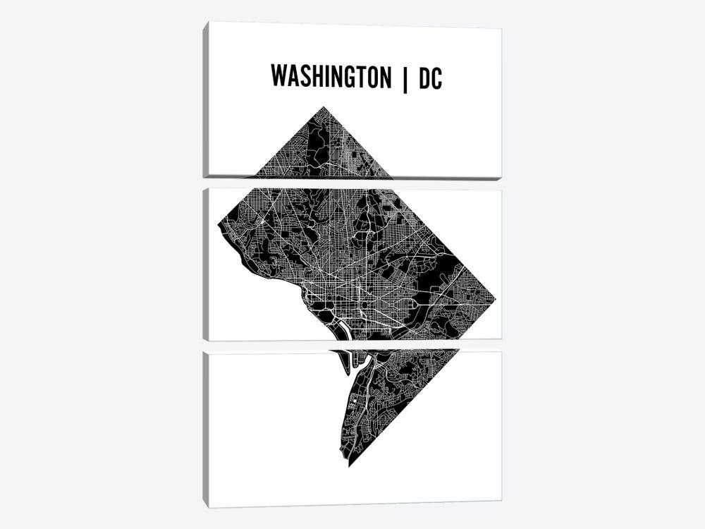 Washington D.C. Map by Mr. City Printing 3-piece Canvas Artwork