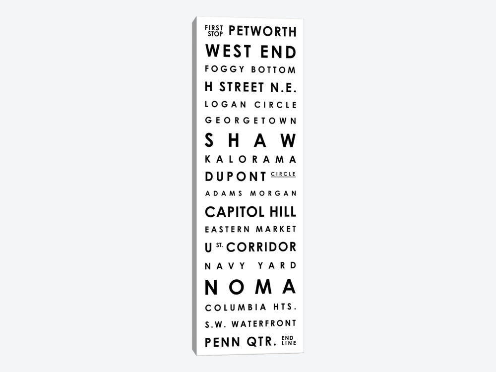 Washington D.C. Typographical Neighborhoods by Mr. City Printing 1-piece Canvas Print