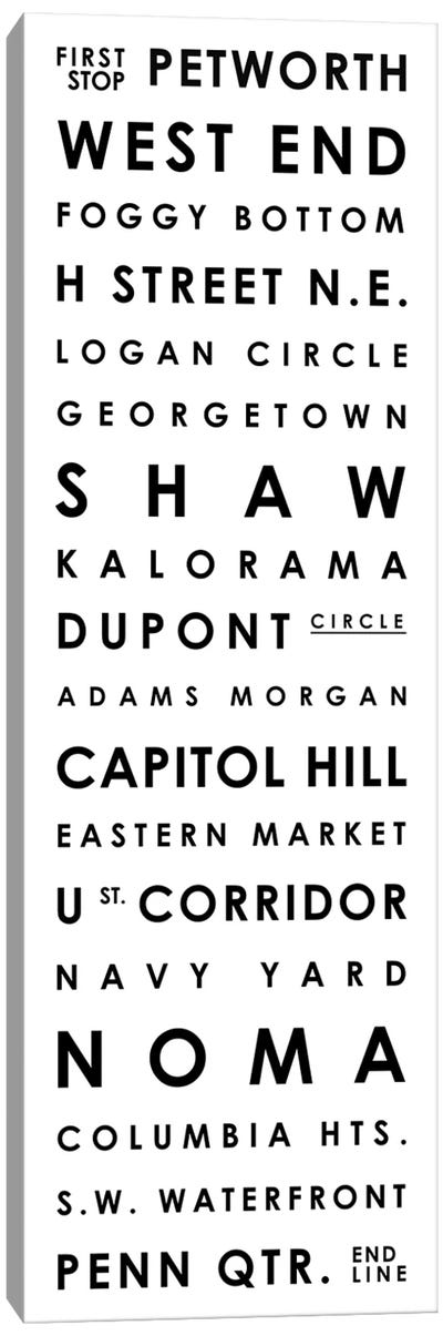 Washington D.C. Typographical Neighborhoods Canvas Art Print