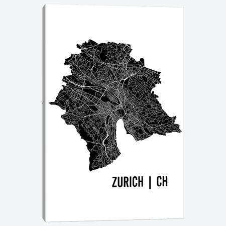Zurich Map Canvas Print #MCP82} by Mr. City Printing Canvas Artwork