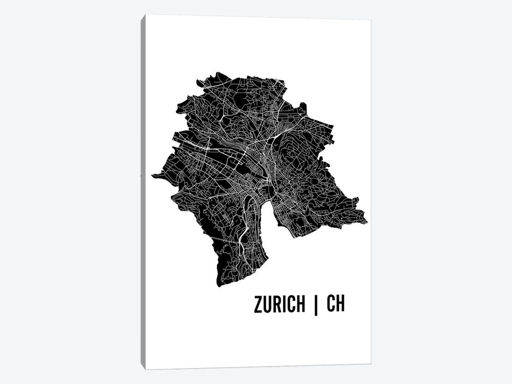 Zurich Map by Mr. City Printing 1-piece Canvas Artwork