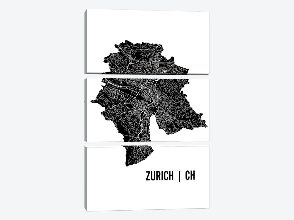 Zurich Map by Mr. City Printing 3-piece Canvas Art