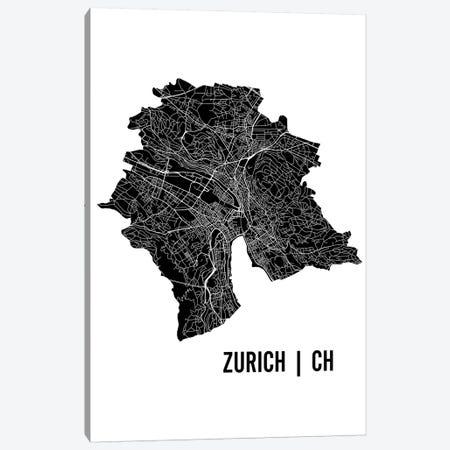 Zurich Map Canvas Print #MCP82} by Mr. City Printing Canvas Artwork