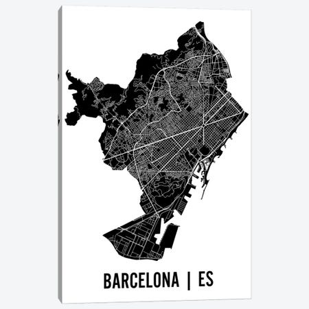 Barcelona Map Canvas Print #MCP8} by Mr. City Printing Canvas Art