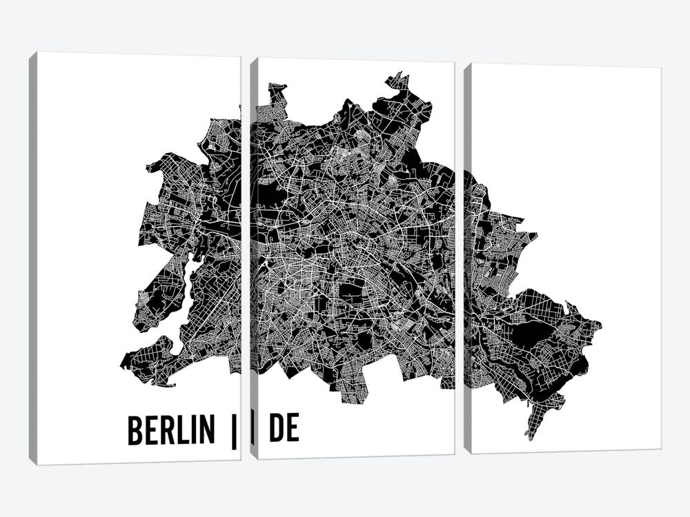 Berlin Map by Mr. City Printing 3-piece Canvas Art Print