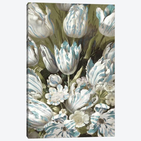 Tulip Bouquet in Aqua Canvas Print #MCQ14} by Angela McQueen Art Print