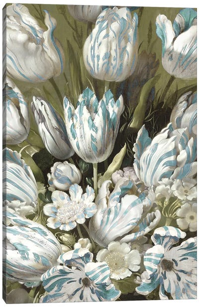 Tulip Bouquet in Aqua Canvas Art Print