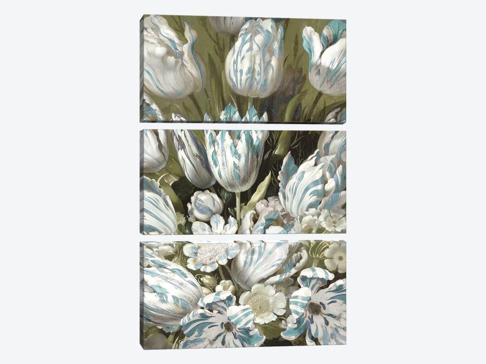 Tulip Bouquet in Aqua by Angela McQueen 3-piece Canvas Artwork