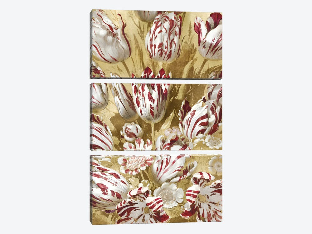 Tulip Bouquet in Red by Angela McQueen 3-piece Canvas Art Print